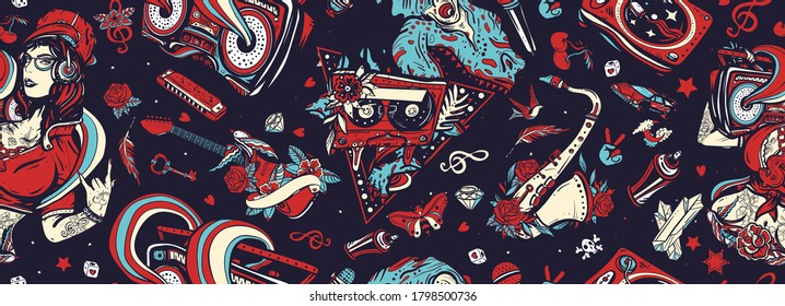 Retro music seamless pattern. Hip hop, street lifestyle. Old school tattoo art. Hip hop girl, swag woman. Tyrannosaur, dj vinyl, boom box, rock guitar, saxophone. Funny pop culture musical background