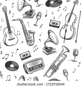 Retro music seamless pattern. Musical instruments microphone, record, cassette, radio, saxophone and gramophone. Sheet music, jukebox, cello, trumpet and guitar retro background. Vector illustration.