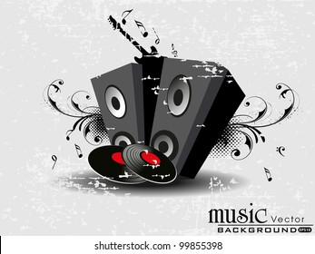 Retro music with speakers, CD, guitaron floral decorative grungy background. EPS 10. Vector illustartion.