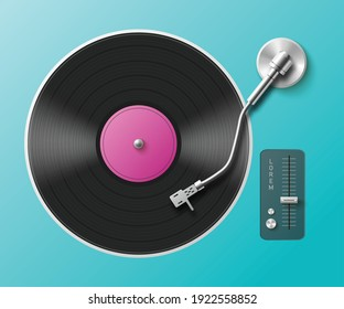 Retro music turntable for vinyl records. Vintage gramophone sound player with black audio disc with purple label. Vector realistic 3d illustration on blue background.