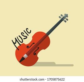 Retro Music Vector Flat Design Background with Vintage Violin Symbol