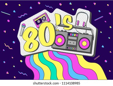 Retro music vector poster. vintage flyer with music 80 s and audio tape, headphone tape recorder microphone