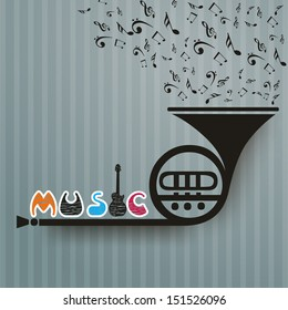 Retro musical background with trumpet.
