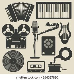 retro musical instruments icons set. vector illustration
