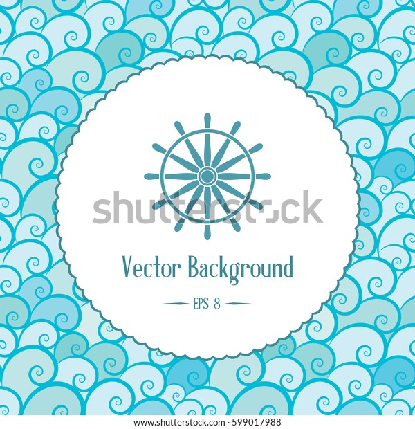 Retro nautical background with emblem and waves. Vector template for logo design of travel agencies, tourist offices, boat rental or cruise.