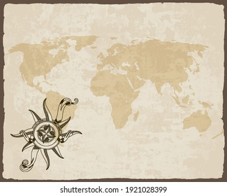 Retro nautical compass on old paper texture world map with torn border frame. Hand drawn antique nautical old vector background. Wind rose for sea marine navigation. Design template for marine theme