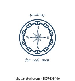 Retro nautical label with compass. Vector template for logo design of travel agencies, tourist offices, boat rental or cruise.