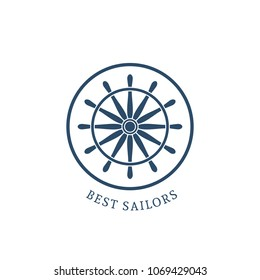 Retro nautical label with handwheel. Vector template for logo design of travel agencies, tourist offices, boat rental or cruise.