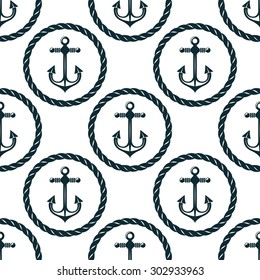 Retro nautical seamless pattern with anchors in circular rope frames on white background,  for marine background or textile design