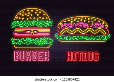 Retro neon burger and hotdog sign on brick wall background. Design for fast food cafe. Vector. Neon design for shop, bar, pub or fast food business. Light burger and hotdog sign banner. Glass tube