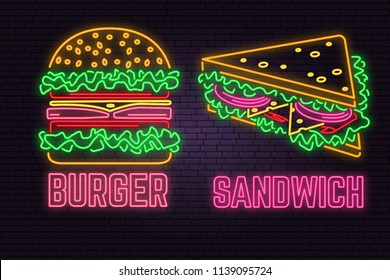 Retro neon burger and sandwich sign on brick wall background. Design for fast food cafe. Vector. Neon design for shop, bar, pub or fast food business. Light burger and sandwich sign banner. Glass tube