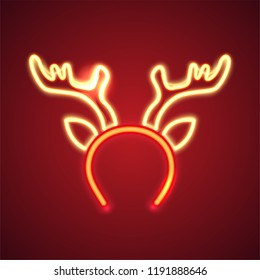 Retro neon Christmas sign. Glowing reindeer horns. Design element for Christmas and New Year. Ready for your design, greeting card, banner. Vector illustration.