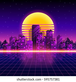 Retro neon city background. Neon style 80's. Vector illustration