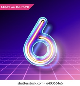 Retro neon glowing glass alphabet font with transparency and shadows. 3D light bulb isolated number 6 on dark backgrounds