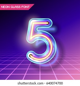 Retro neon glowing glass alphabet font with transparency and shadows. 3D light bulb isolated number 5 on dark backgrounds