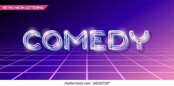 Retro neon glowing glass COMEDY lettering with transparency and shadows. 3D light bulb advertising on dark backgrounds