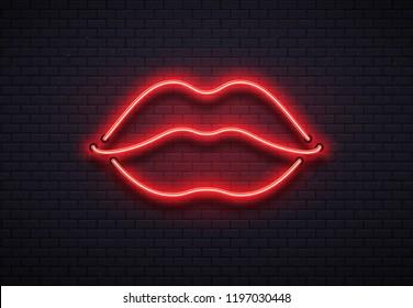 Retro neon lips sign. Romantic kiss, kissing couple lip bar.
