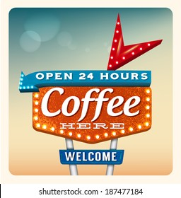Retro neon sign coffee in the style of American roadside advertising style 1950s