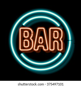 Retro neon sign with the word bar. Vintage electric symbol. Burning a pointer to a black wall in a club, bar or cafe. Design element for your ad, signs, posters, banners. Vector illustration