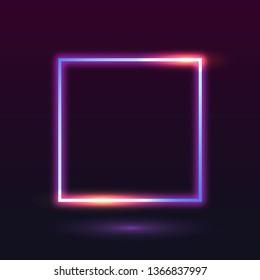 Retro neon square badge vector