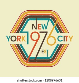 Retro New York City College Vintage Fashion Slogan for T-shirt and apparels graphic vector Print.