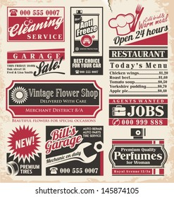 Retro newspaper ads design template. Vector collection of vintage advertisements. Old paper texture layout with promotional creative concepts for different business services, restaurants and shops.