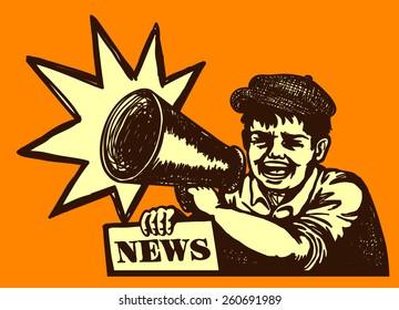 Retro newspaper vendor kid screaming with megaphone, breaking news, bumper edition