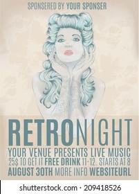 Retro night invitation flyer with rockabilly girl