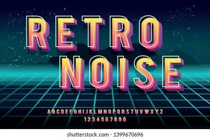 Retro Noise. 3D bold font in 1980s style. Illustration of 1980 retro neon poster. Futuristic landscape.