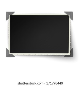 Retro not straight edges photo frame with one not fixed corner in vintage photo corners isolated on white background