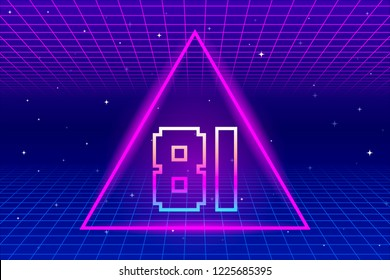 Retro Number 81 inside Triangle and Grid Background. EPS10 Vector With Transparency
