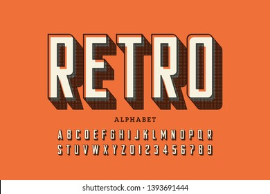 Retro offset printing style font, alphabet letters and numbers vector illustration