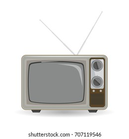 Retro, old fashioned, vintage tv icon. Template in flat design. Vector illustration
