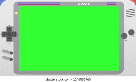 Retro old joystick game with green screen. Pixel art style.