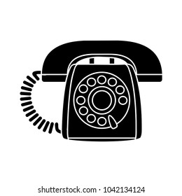 retro old phone icon - contact sign - support symbol