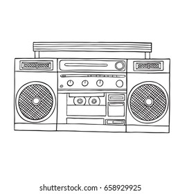 Retro old  radio cassette tape recorder isolated on white background.