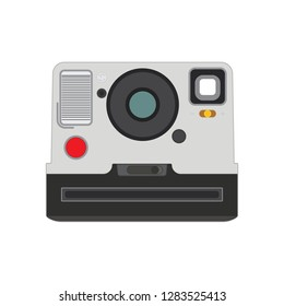 Retro Old vintage polaroid photo camera front view with lens and flash isolated on white, vector eps10