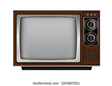 Retro old vintage television on white background.