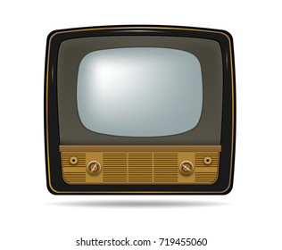 Retro old vintage television on white background.