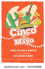 Retro orange background template or card design with  text and details customized for fiesta party with celebration elements.