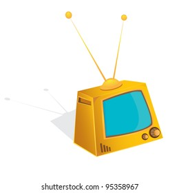 retro orange tv. vector illustration.