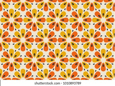 Retro orange and yellow color 60s flower motif. Geometric floral seamless pattern.  vector illustration