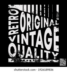 Retro original vintage typography for t-shirt stamp, tee print, applique, fashion slogan, badge, label clothing, jeans, or other printing products. Vector illustration.