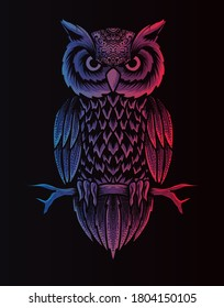 Retro owl style vector illustration of a bird on black background.