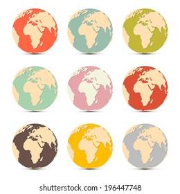 Retro Paper Vector Earth World Globe Map Icons