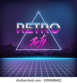 Retro Party 1980s. Digital landscape with space, mountains and laser grid on terrain in cyber world. Retro futuristic background 80s style.
