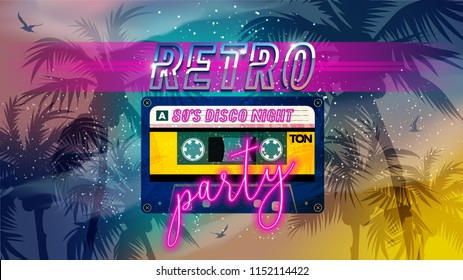 Retro party 80's banner, cover or invitation card with cassete tape. Old style vector poster. Disco fluorescent neon style eighties party. 1980 fashion background easy editable template for event.