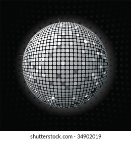retro party background with disco ball, illustration
