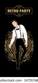Retro party card, handsome man dressed in 1920s style dancing, dandy guy, twenties, vector illustration