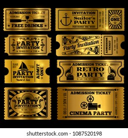 Retro party, cinema, invitation vector tickets set. Vector golden tickets isolated on black background illustration